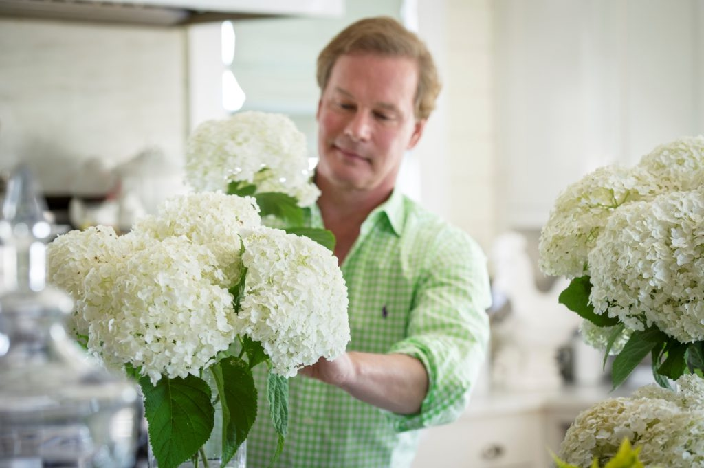Allen with hydrangeas