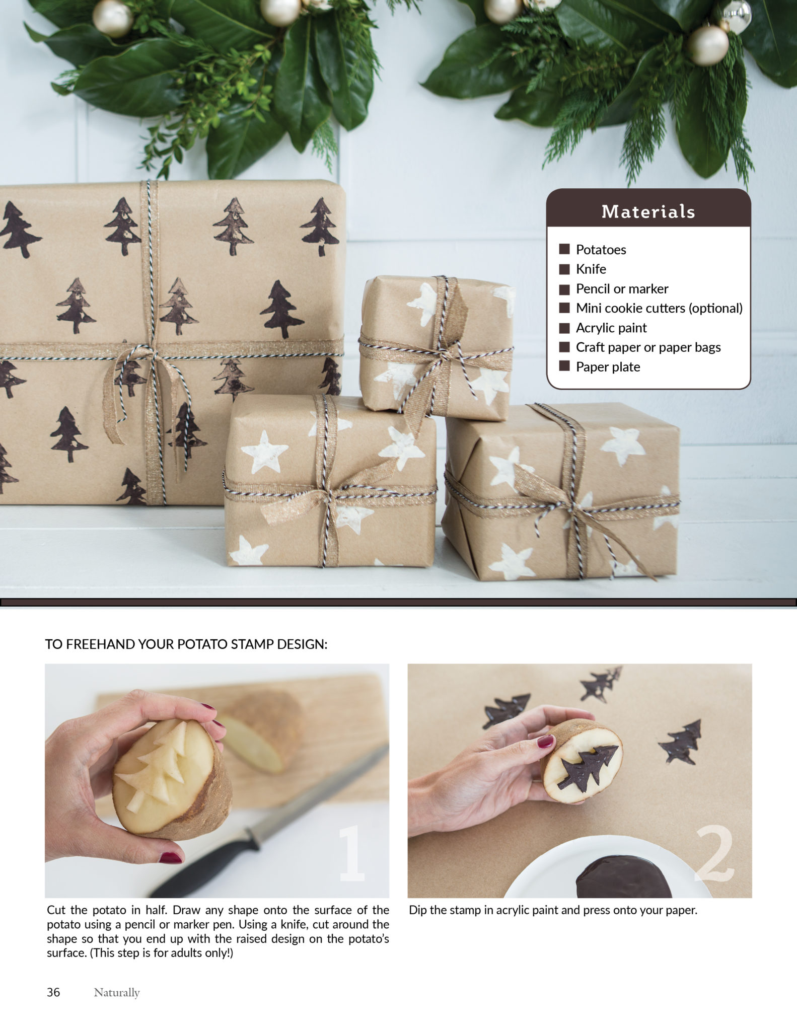 diy wrapping paper with spud stamps